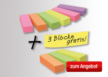 Post-it® Haftstreifen Page Marker Promotion 6 Block/Pack. + 3 Blöcke gratis